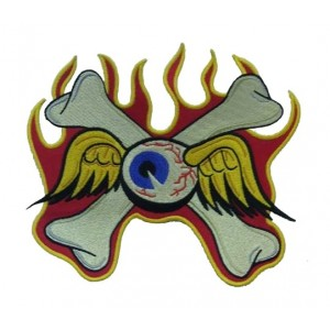Patch ecusson von Dutch flying eyeball bones flaming crossbone grand