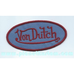 Patch ecusson von Dutch signature ovale rouge sang fond bleu