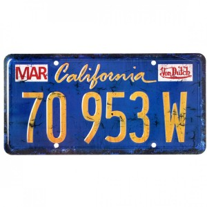 plaque métal imatriculation von Dutch flyin california blue collector