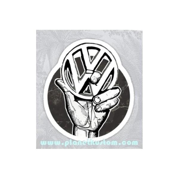 sticker vw hand sigle volkswagen logo main noir et blanc vw 24. Black Bedroom Furniture Sets. Home Design Ideas