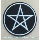 Patch ecusson pentacle amulette magic satan demon argent