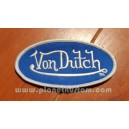 Patch ecusson von Dutch signature ovale argent fond bleu