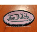 Patch ecusson von Dutch signature ovale gris bleu fond violine