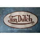 Patch ecusson von Dutch signature ovale marron fond beige dos large