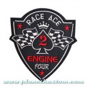 Patch ecusson biker race ace 2 spade flag damier engine four king