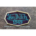 Patch ecusson von Dutch 1949 octogone signature turquoise fond aubergine old stock