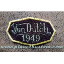 Patch ecusson von Dutch 1949 octogone signature gris fond aubergine old stock