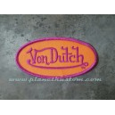 Patch ecusson von Dutch signature ovale fushia fond orange old stock