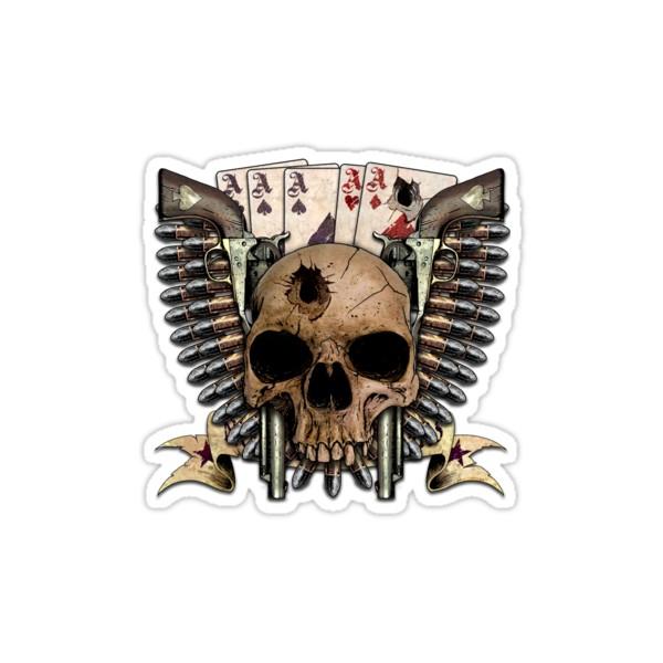 Sticker dead mans hand skull guns ace cardes skull1