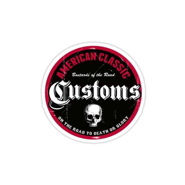 Sticker american classic customs bastards of the road skull 11 for American classic customs