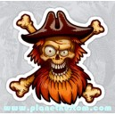 Sticker red bearded pirate skull barbe rouge le pirate tete de mort skull 34