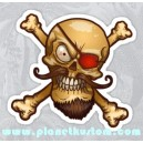 Sticker mustached pirate red eye patch moustache barbe tete de mort skull 35
