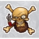 Sticker bearded pirate smoking pipe barbe tete de mort skull 36