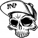 Sticker Strip'n'Shop hat casquette tete de mort crane sns skull
