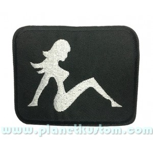 Patch ecusson thermocollant nude pin up silver on black