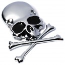 Sticker autocollant skull and bones pirate chrome badge 3d métal 6