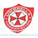 Sticker umbrella corporation logo blason fond alu brossé badge 3d métal