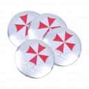 Lot de 4 sticker badge centre de roue voiture umbrella corporation logo rond badge 3d métal