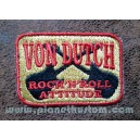 Patch ecusson von Dutch rock n roll attitude red on yellow old stock