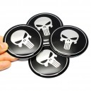Lot de 4 Stickers autocollants skull the punisher black badge 3d métal 25
