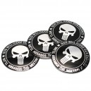 Lot de 4 Stickers autocollants skull the punisher black god will judge badge 3d métal 27