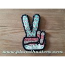 Patch ecusson von Dutch V victoire hand signe blue pastel old stock