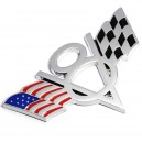 Sticker autocollant badge 3D métal V8 american racing flag damier 38