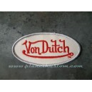 Patch ecusson von Dutch signature ovale rouge fond gris clair old stock