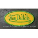 Patch ecusson von Dutch signature ovale vert fond jaune