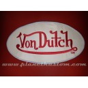 Patch ecusson von Dutch signature ovale rouge fond beige dos large