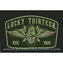 Patch Lucky 13 thirteen since 1991 skull bones spade fast & loud