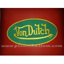 Patch ecusson von Dutch signature ovale jaune fond vert dos large