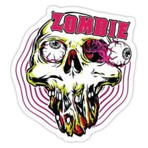 Sticker skull pink grey eyes zombie 7